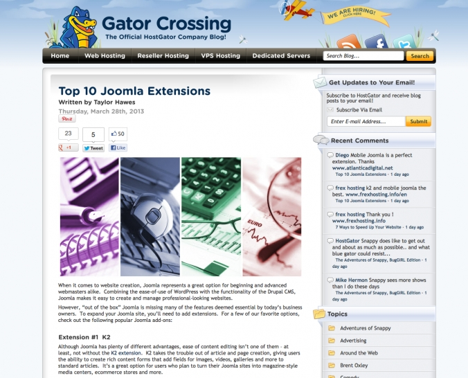 K2 #1 Joomla! extension according to HostGator
