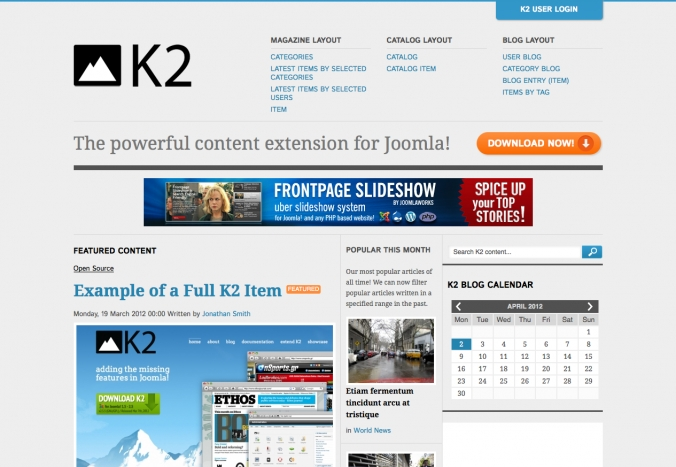 The new K2 demo site